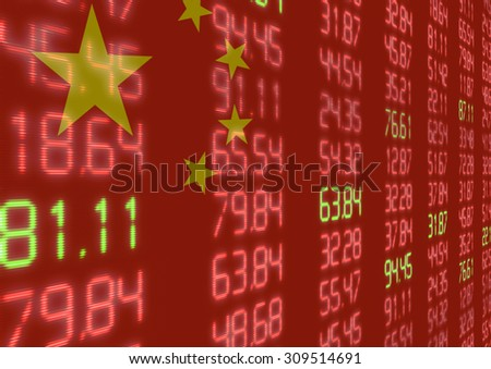 Chinese Stock Market - Red and Green Figures on Chinese Flag - stock photo