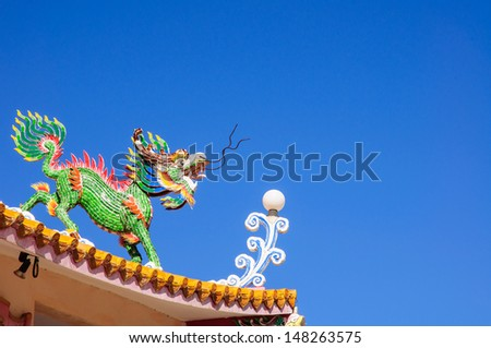 Chinese style blue dragon statue - stock photo
