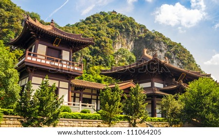 Chinese style building in a public park, Guilin, China - stock photo
