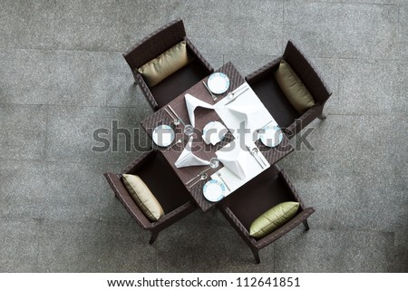 Chinese style dinning table and chairs - stock photo