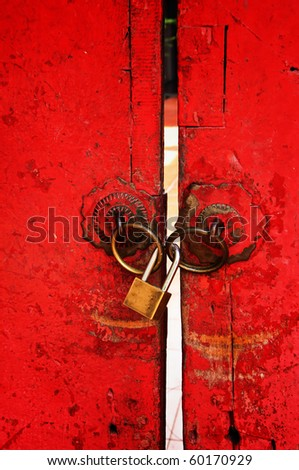 Chinese style door used as background - stock photo