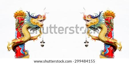 Chinese style dragon statue, Dragon pillars in chana Town - stock photo