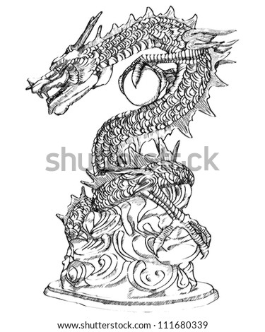 Chinese Style Dragon Statue Sketch Up. - stock photo