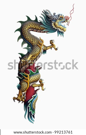 Chinese style dragon statue with Clipping Part - stock photo