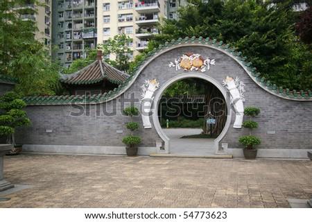 Chinese style garden - stock photo