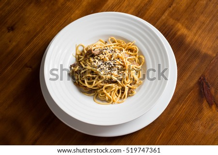 Chinese-style noodles with sesame and meat