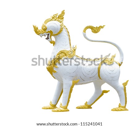 chinese style of white dragon-headed unicorn (Qilin, Kylin or Kirin) isolated on white - stock photo