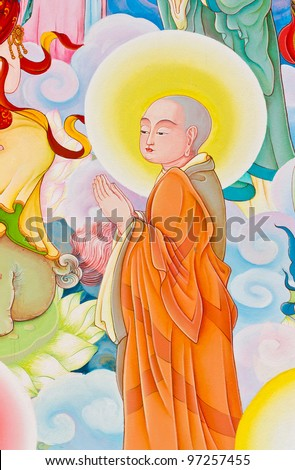 Chinese style painting art on temple wall - stock photo