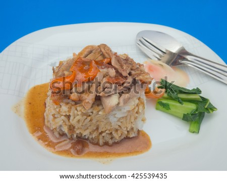 Chinese style roasted duck with rice and vegetable garnish - stock photo