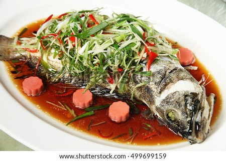 Chinese style steamed fish in soy sauce
