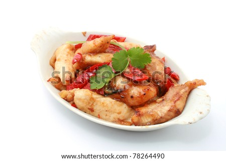 Chinese Style Stir Fried Fish Fillet isolated on white
