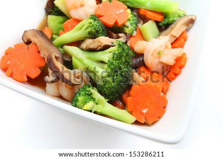 Chinese style stir fry mix vegetable isolated on white