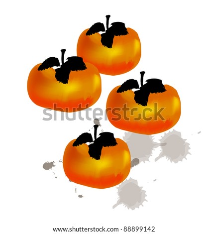 Chinese style traditional painting - Persimmon - stock photo