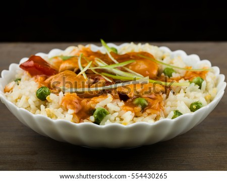 Chinese Sweet and Sour Chicken With Egg Fried Rice Meal