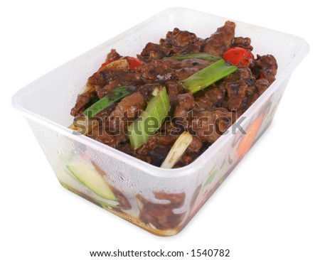 Chinese take out of beef and vegetables with black bean sauce - includes clipping path - stock photo