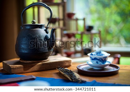 Chinese Tea Ceremony on the table - stock photo