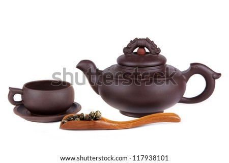 Chinese tea, cup and teapot on isolated white background