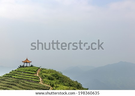 Chinese tea mountains and the Chinese Pavilion - stock photo