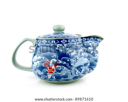Chinese tea pot isolated on white background.