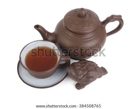 Chinese tea set isolated on a white backgroun.
