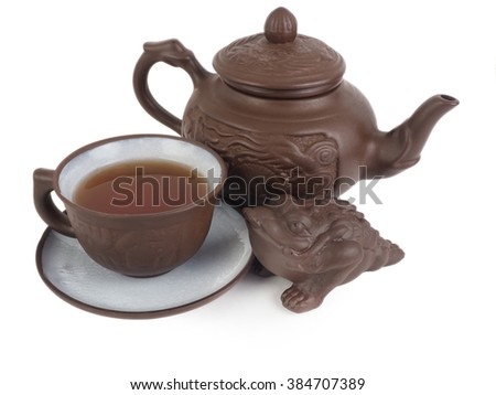 Chinese tea set isolated on a white background.
