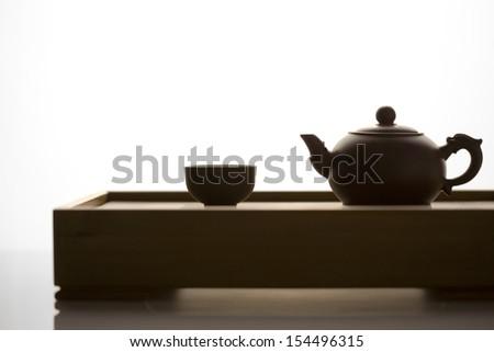 Chinese tea set on white background - stock photo