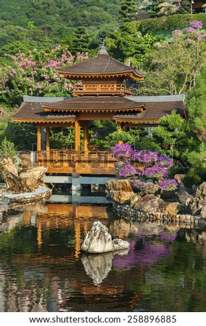 Chinese Temple - Chi Lin Nunnery in Hong Kong, China - stock photo