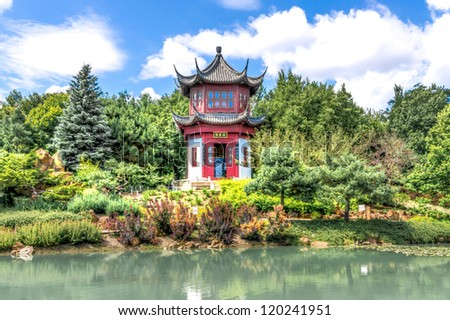 Chinese Temple Garden in Montreal in HDR # 1 - stock photo