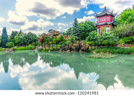 Chinese Temple Garden in Montreal in HDR # 2 - stock photo