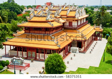 Chinese temple in bird eye view, Ayutthaya Thailand - stock photo