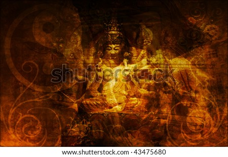 Chinese Temple in China Town Abstract Background - stock photo