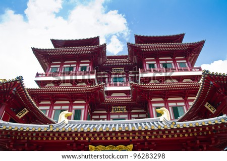 Chinese temple in Singapore - stock photo