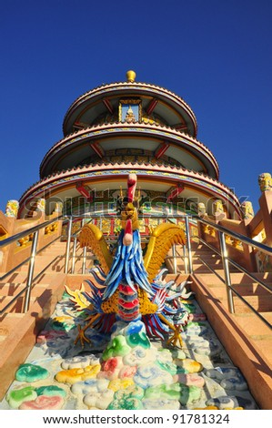 Chinese temple in thailand and clear sky - stock photo