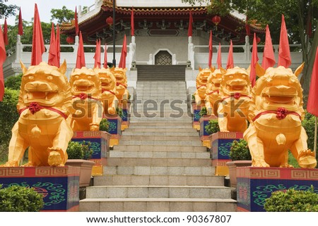Chinese Temple Lions, Chinese Gardens, Singapore - stock photo