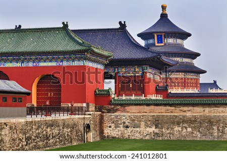 "Chinese Temple of Heaven main round pagoda in Beijing imperial garden. Words on Pagoda mean ""Temple of Heaven"" - stock photo"
