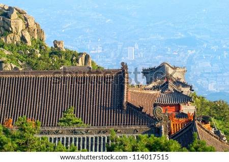 Chinese temple on Mount Tai Shan, Tai'an county, Shandong province, China - stock photo