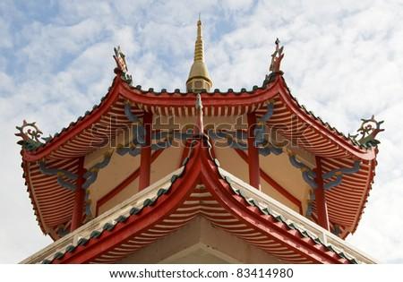 Chinese Temple Pagoda, Kek Lok Si Temple, Penang, Malaysia - stock photo