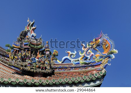 chinese temple roof eaves with dragon