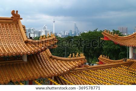 Chinese temple roof, Kuala Lumpur, Malaysia - stock photo