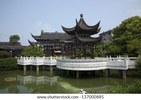 Chinese temples and lakes. - stock photo