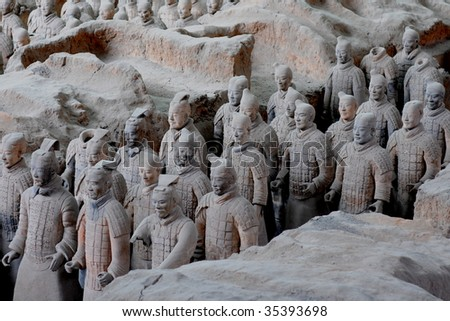 Chinese Terracotta Warriors Army in Xian. - stock photo