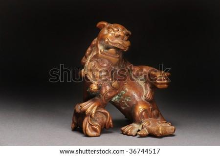 Chinese 19th century bronze opium weight, - stock photo