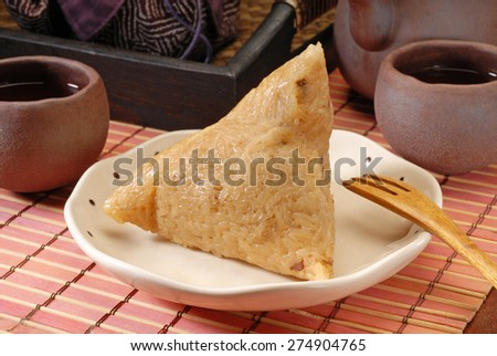 Chinese tradition food - steamed rice dumpling - stock photo