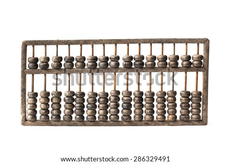 Chinese traditional calculator, old abacus on white background - stock photo
