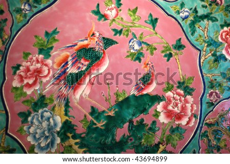 chinese traditional colorful relic - stock photo