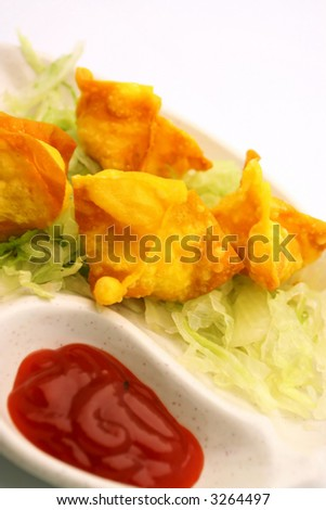 Chinese Traditional Food- Fried Wanton,Dim-Sum - stock photo