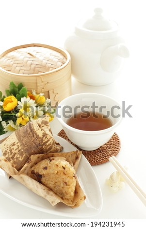 Chinese traditional food, Zongzi and tea for Yum cha image