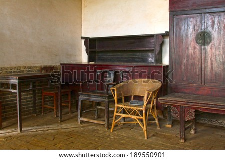 Chinese traditional furniture -- fauteuil, in Chinese rural areas - stock photo
