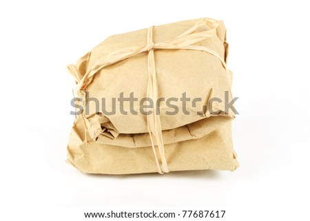 Chinese traditional herbal medicine packet,isolated on white background.