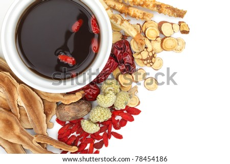 Chinese traditional herbs and medicine close up - stock photo